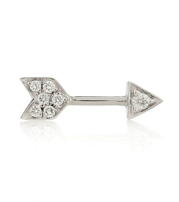 10mm Diamond Arrow 18kt white gold single earring