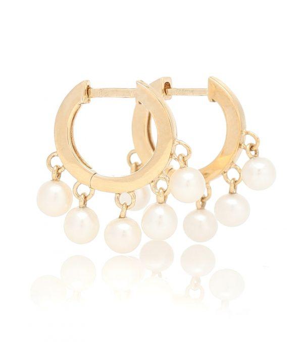 14kt gold hoop earrings with pearls