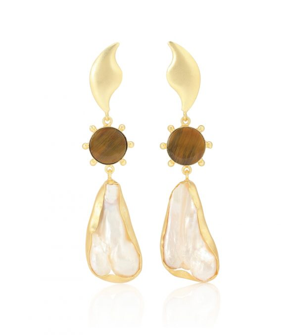 14kt gold-plated earrings with tiger's eye and viva pearl