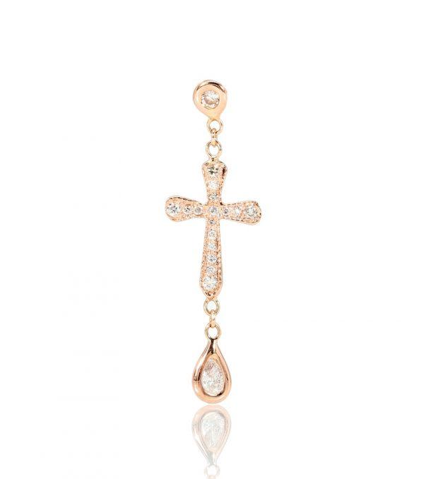 14kt rose gold and diamond cross earring