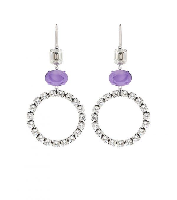 Crystal-embellished hoop earrings