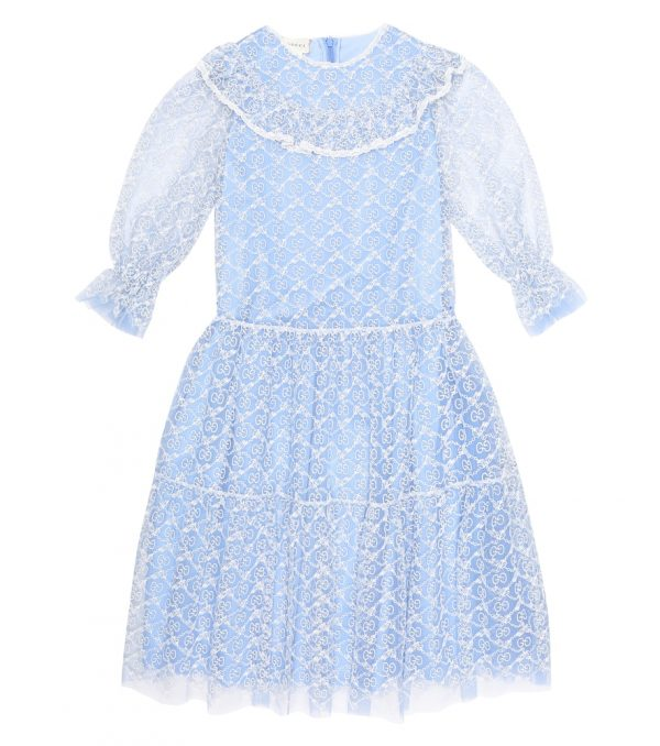 GG embroidered tulle dress