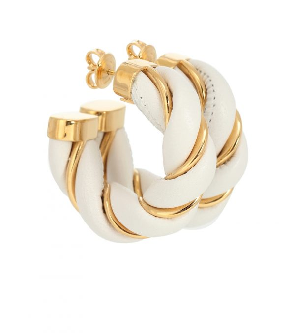 Leather and gold-plated hoop earrings