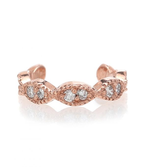 Pave Marquise 14kt rose gold ear cuff with diamonds