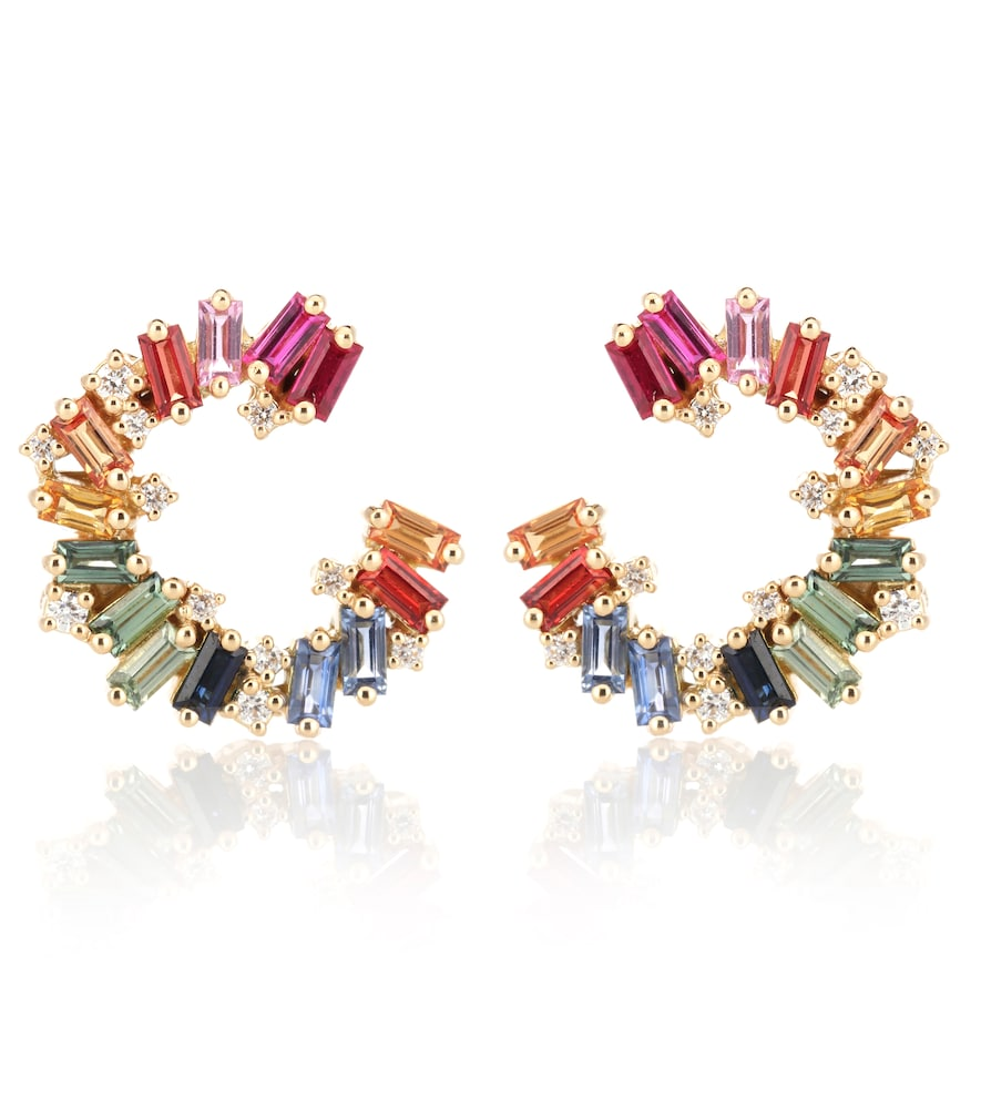 Rainbow Spiral 18kt gold earrings with diamonds and sapphires