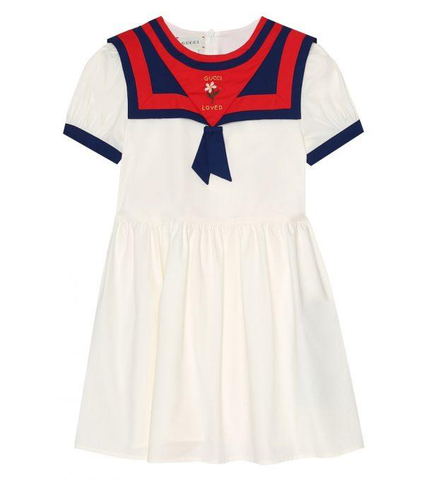 Stretch-cotton sailor dress