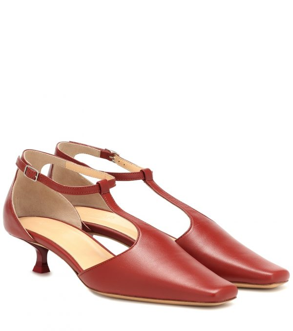 Bella T-bar leather pumps