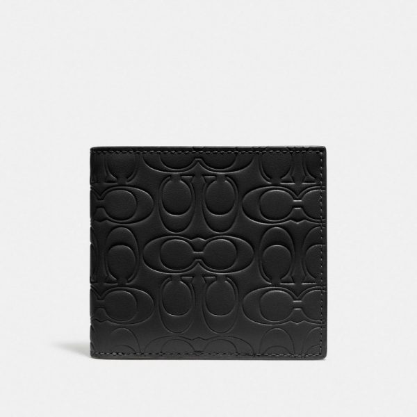 Double Billfold Wallet In Signature Leather in Black