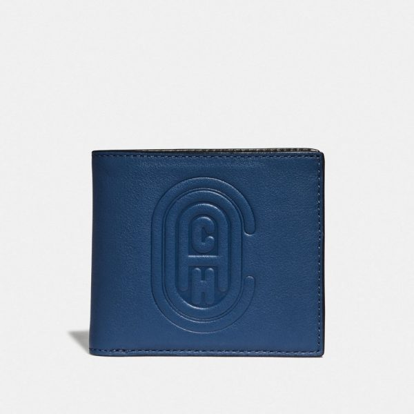 Double Billfold Wallet With Patch in Blue