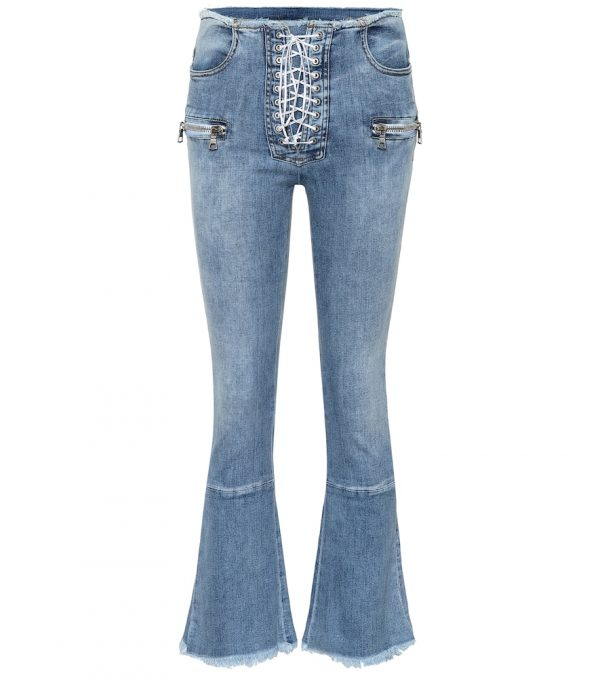 Lace-up mid-rise kick-flare jeans