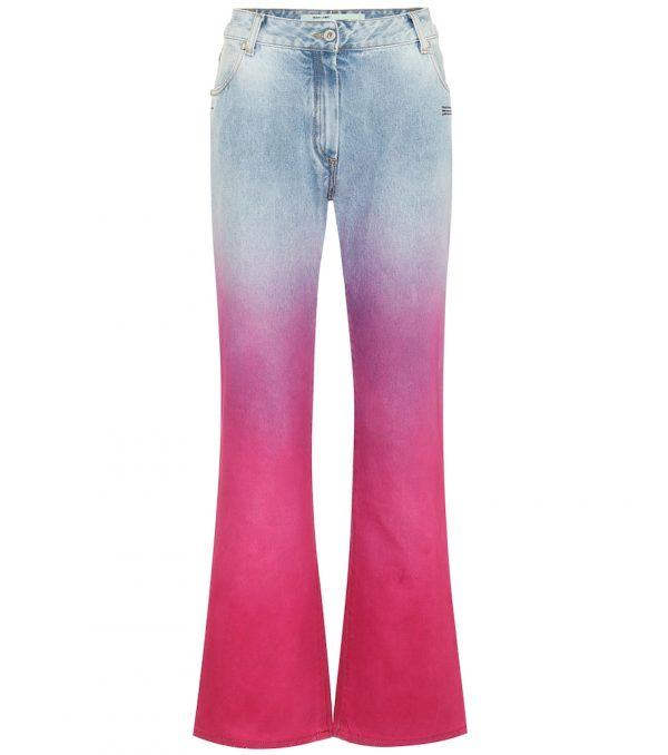 Mid-rise straight ombré jeans