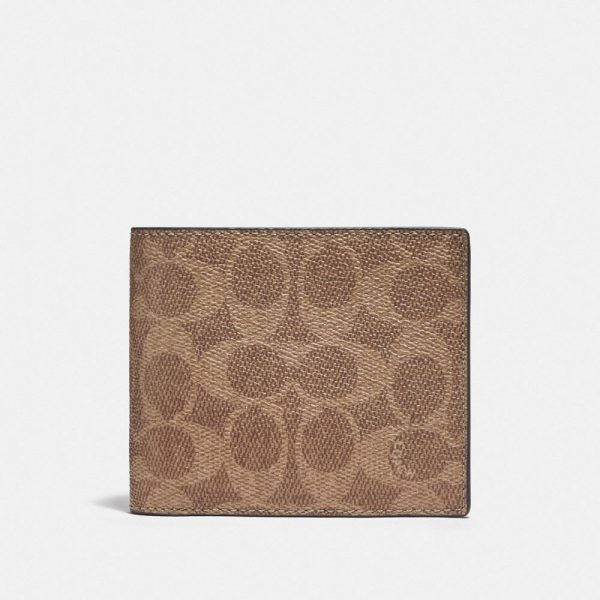 3-in-1 Wallet In Colorblock Signature Canvas in Beige/Brown