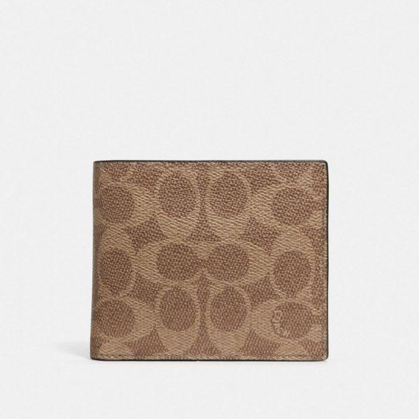 3-in-1 Wallet In Signature Canvas in Beige/Brown