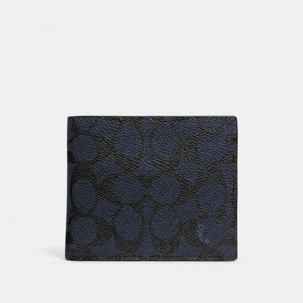 3-in-1 Wallet In Signature Canvas in Blue