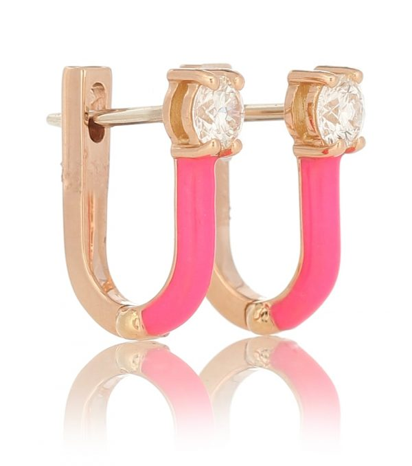 Aria 18kt rose gold hoop earrings with diamonds