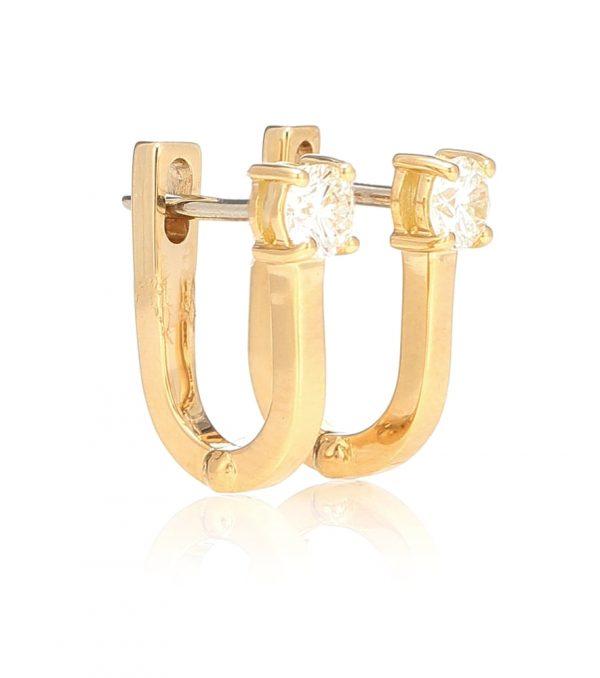 Aria U 18kt gold and diamond hoop earrings