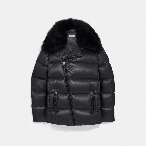 Aviator Puffer Jacket in Black - Size 10