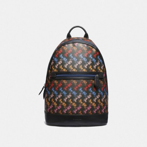Barrow Backpack With Horse And Carriage Print in Black