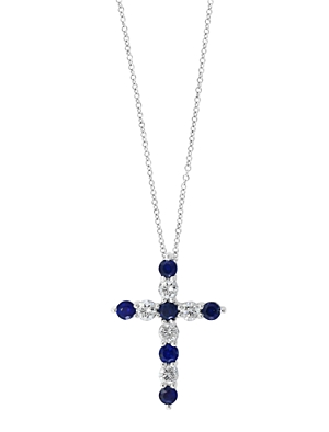 Bloomingdale's Blue Sapphire & Diamond Cross Pendant Necklace in 14K White Gold, 18 - 100% Exclusive
