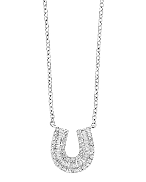 Bloomingdale's Diamond Baguette Horseshoe Pendant Necklace in 14K White Gold, 0.33 ct. t.w. - 100% Exclusive