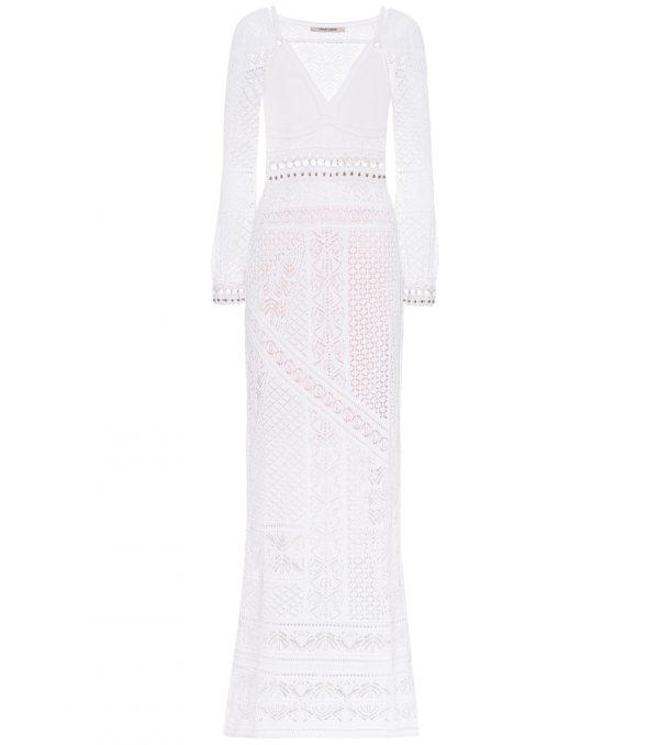 Cotton-blend crochet maxi dress