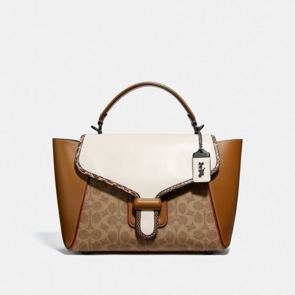 Courier Carryall In Colorblock Signature Canvas With Snakeskin Detail in Beige/Brown/White