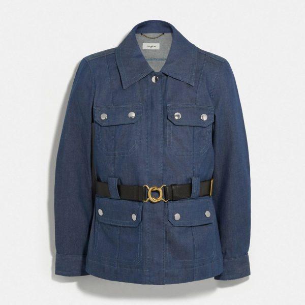 Denim Belted Heritage Jacket in Blue - Size 10