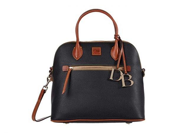 Dooney & Bourke Pebble Large Domed Satchel (Black) Handbags