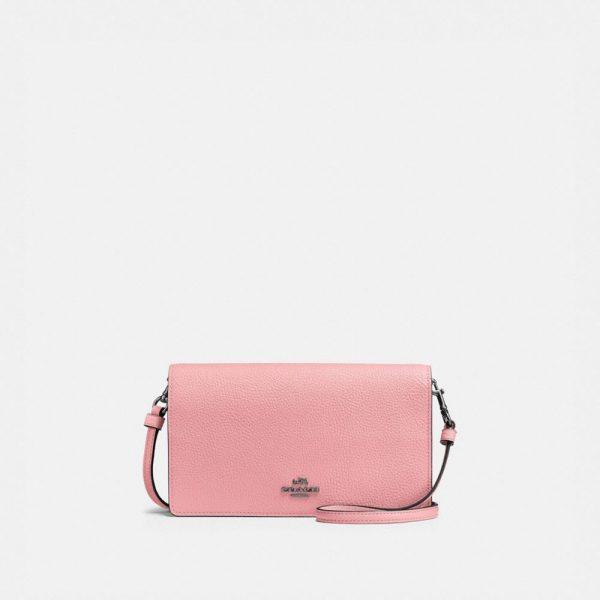 Hayden Foldover Crossbody Clutch in Pink