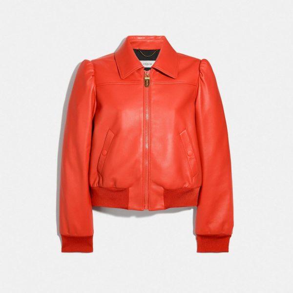 Leather Blouson Jacket in Orange - Size 08