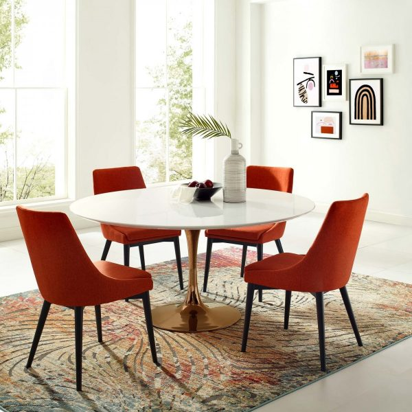 """Lippa 60"""" Round Wood Dining Table in Rose White"""