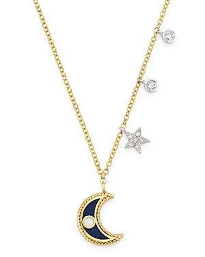 Meira T 14K Yellow Gold & 14K White Gold Diamond & Enamel Moon Pendant Necklace, 18