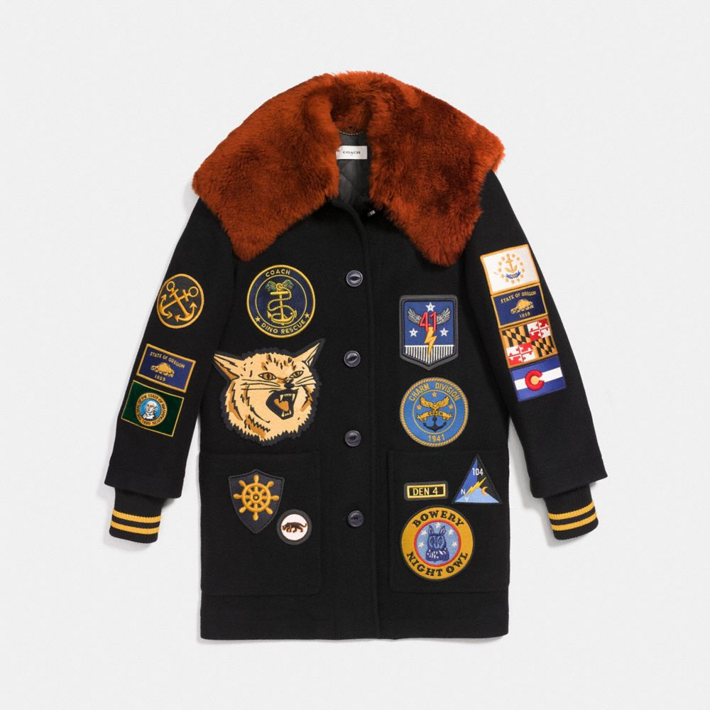 Military Patch Worker Jacket in Black - Size 04