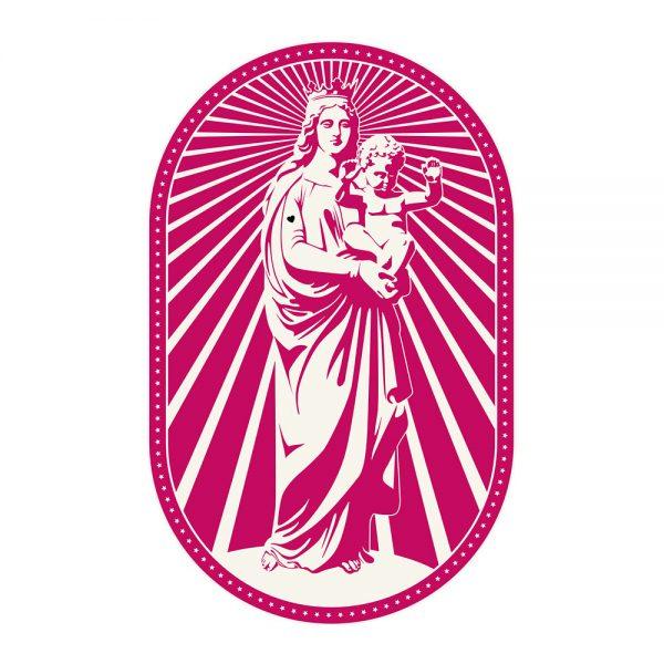 PODEVACHE - Woman and Baby Statue Vinyl Floor Mat - Pink
