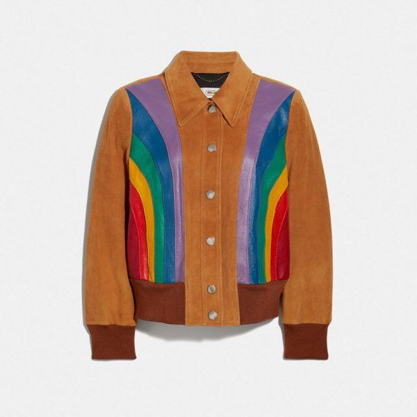 Rainbow Blouson Jacket in Beige - Size 06