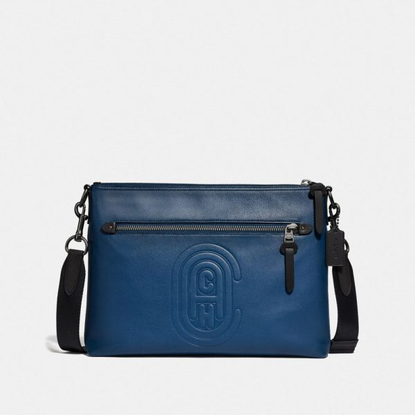 Rivington Messenger With Patch in Blue