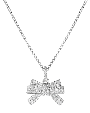 Roberto Coin 18K White Gold Disney Cinderella Diamond Bow Pendant Necklace, 18