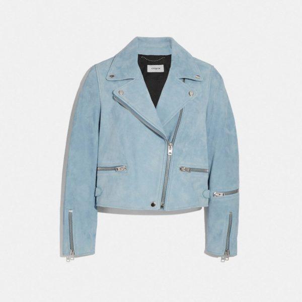 Suede Biker Jacket in Blue - Size 04