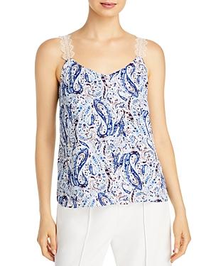 T Tahari Paisley Print Lace Trim Camisole