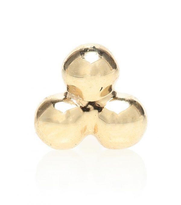 Three Ball Trinity 14kt gold single earring