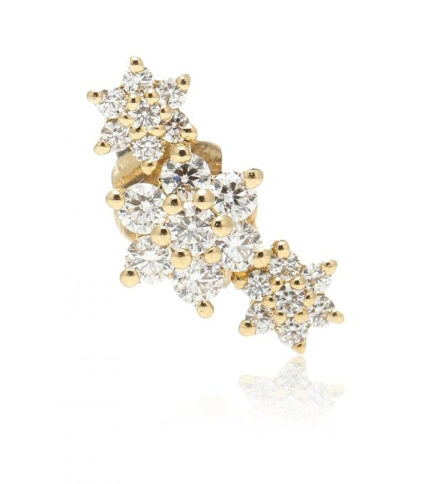 Three Flower Garland 14kt gold single earring with diamonds