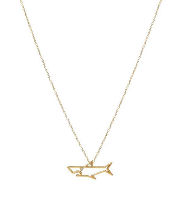 Tiburón Brillante 9kt gold necklace with diamond