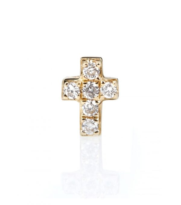 Tiny Cross 14kt gold and diamonds earring