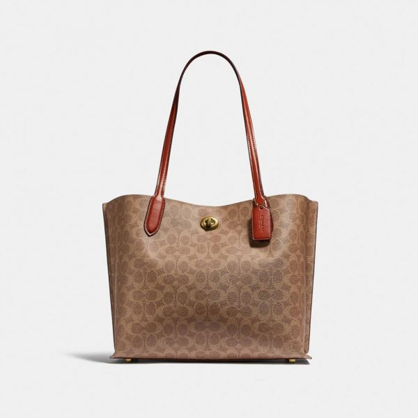Willow Tote In Signature Canvas in Beige/Brown