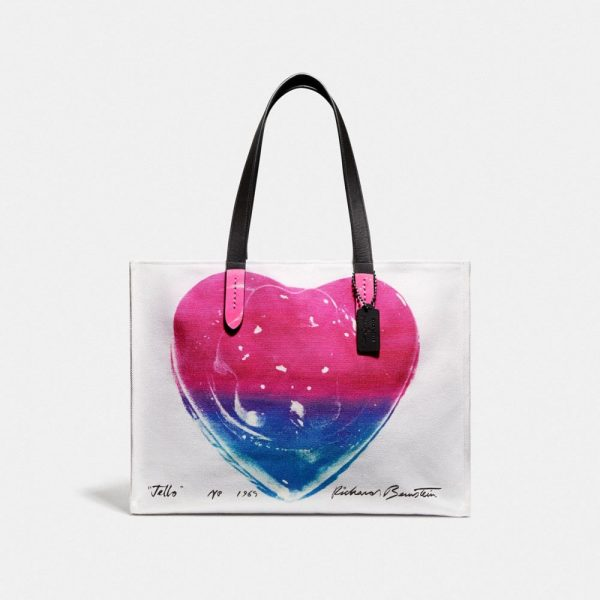 X Richard Bernstein Tote 42 With Jello Heart in Pink/White