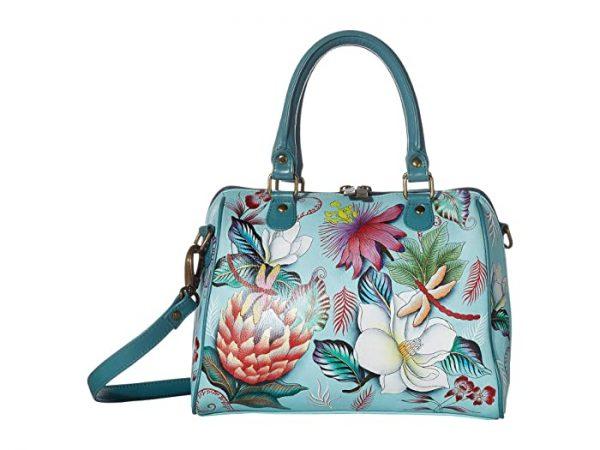 Anuschka Zip Around Classic Satchel 625 (Jardin Bleu) Handbags