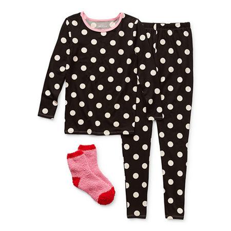 Arizona Little & Big Girls 2-pc. Pant Pajama Set, 4 , Black