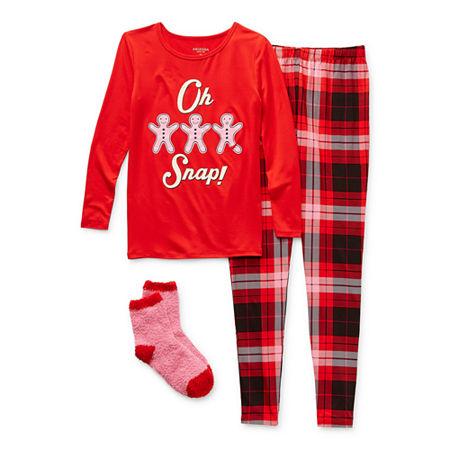 Arizona Little & Big Girls 2-pc. Pant Pajama Set, 4 , Red