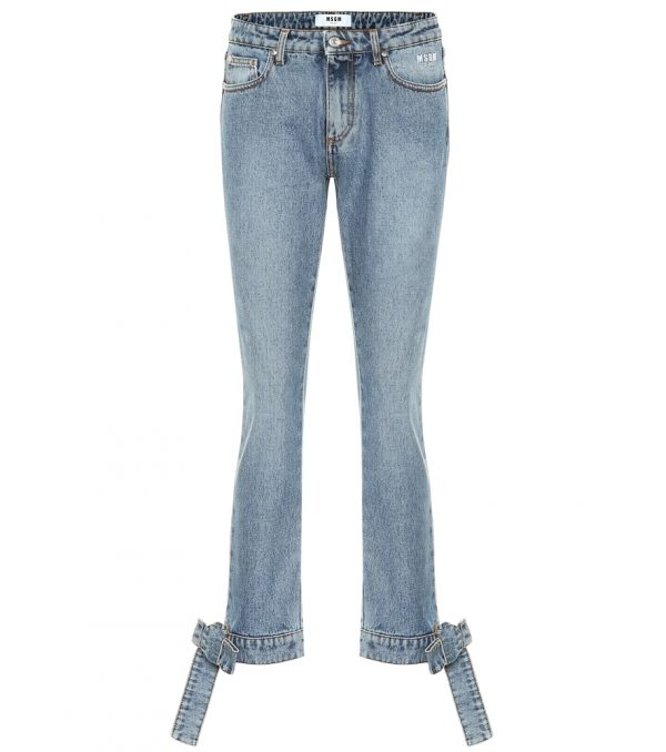Bow trimmed straight-leg jeans
