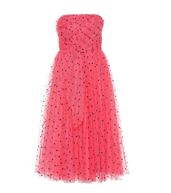 Flocked tulle dress